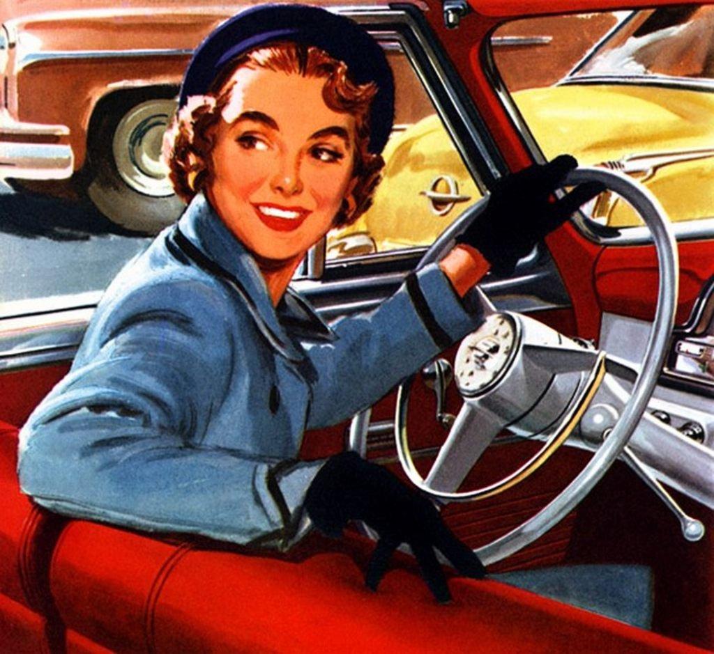 Ежом, открытка женщине за рулем