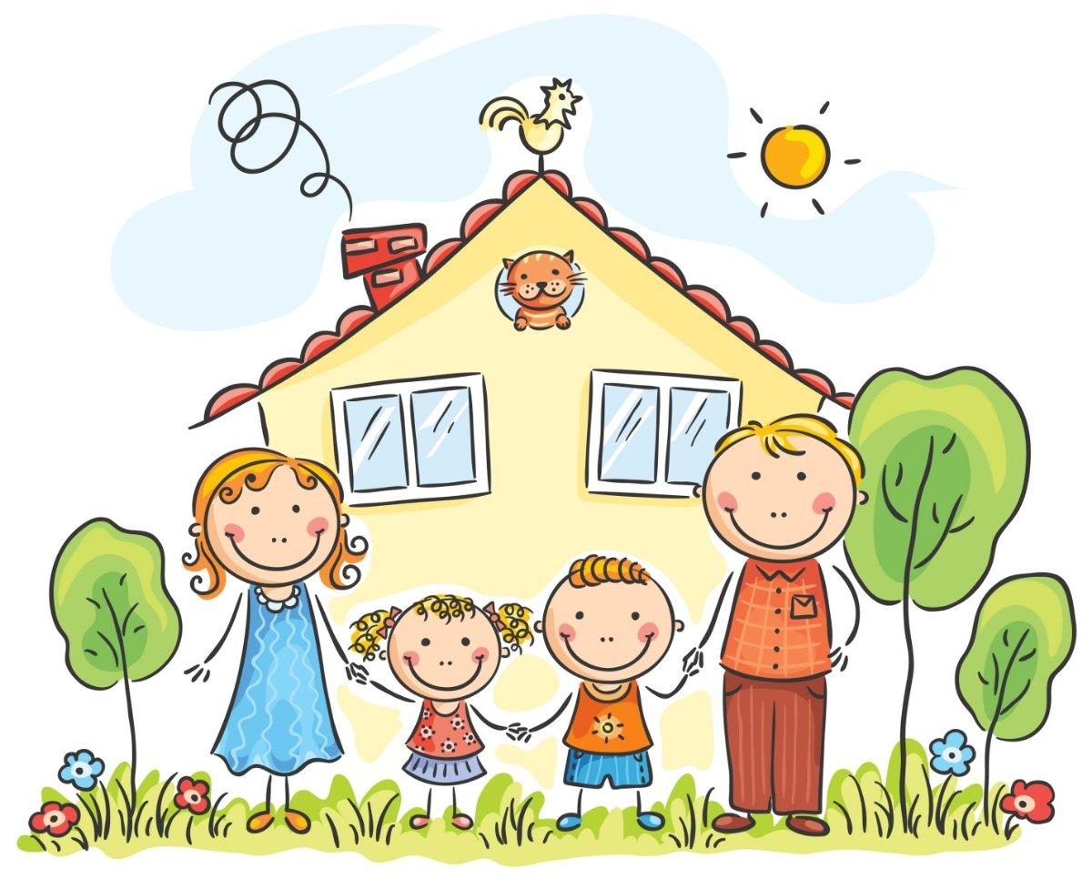 Паука, картинки дети с родителями нарисованные